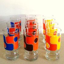 Série de verres années 70 vintage