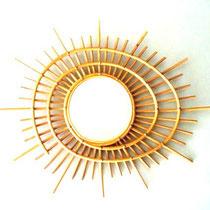 miroir rotin soleil vintage