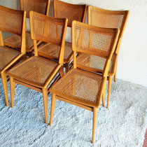 Série 6 chaises chêne cannéees vintage