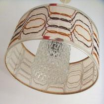 Suspension verre et tissus vintage