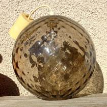 suspension globe en verre fumé à facettes années 70