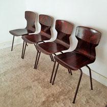 Série chaises contreplaqué étuvé palissandre