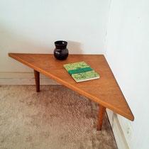 Table basse d'angle chêne vintage