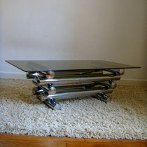 table basse chrome et verre
