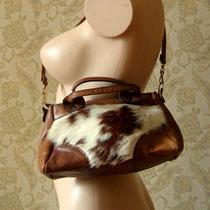 sac à main vintage cuir et fourrure