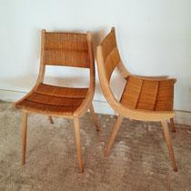 Paire de chaises paille compas vintage