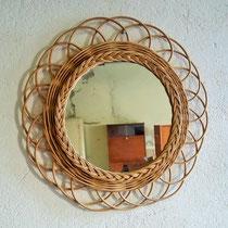 Miroir fleur rotin vintage