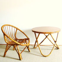 ensemble rotin fauteuil et table vintage