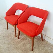 Paire de fauteuils bois tissus vintage
