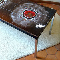 table basse chrome céramique vintage