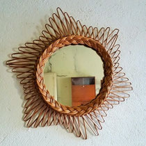 Miroir rotin étoile vintage