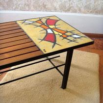 table basse bois métal et céramique vintage