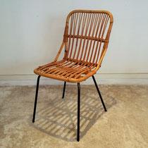 Chaise métal et rotin vintage