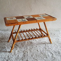 Table basse tiki rotin vintage