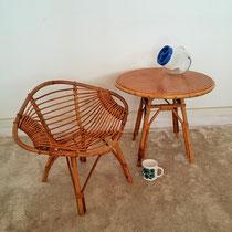 Ensemble enfant vintage fauteuil et table rotin