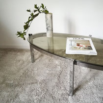 Table basse chrome et verre ovale vintage