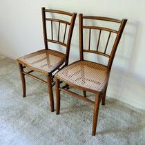 Paire de chaises bistro cannées