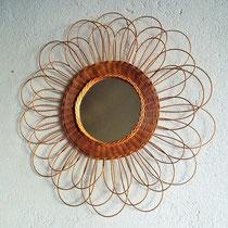 Miroir rotin fleur vintage