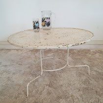 Table métallique jardin tripode vintage