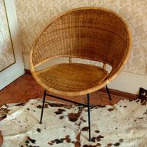 fauteuil rotin et métal vintage années 50