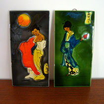 plaques céramique Geisha Vallauris Raymonde Leduc