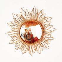 Miroir soleil œil de sorcière rotin vintage