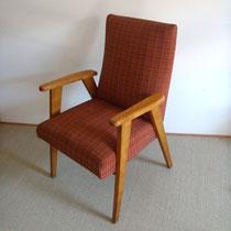 Fauteuil bois tissus vintage années 50