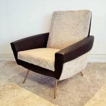 fauteuil skaï moumoute vintage