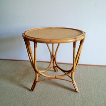 Table basse tripode rotin vintage
