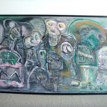 Grande peinture sur bois dlg Jean Michel Basquiat