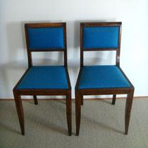 paire de chaises bois tissus bleu canard vintage