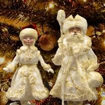 Коллекционные авторские Дед Мороз и Снегурочка. Техника - ватное папье-маше