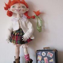 Пеппи-длинный чулок. Текстильная куколка . Грунтованный текстиль, каркасю Смена одежды и аксессуары