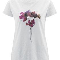 T-shirt Estefania in 100% bio-katoen jersey, wit met klaprozen, Living Crafts, beschikbaar in de maten XS, S en L, prijs: 34,99 €