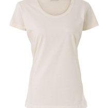 Basis T-shirt met ronde hals in 100% bio-katoen tricot, naturel, Living Crafts, beschikbaar in de maten S, M, L en XL, prijs: 16,99 €