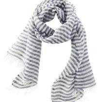 Sjaal Amsterdam in 100% bio-linnen, donkerblauw/naturel, Living Crafts