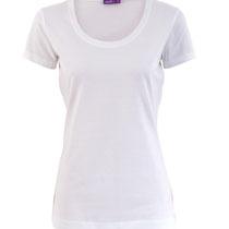 Basis T-shirt met ronde hals in 100% bio-katoen tricot, wit, Living Crafts, beschikbaar in de maten XS, S, M, L en XL