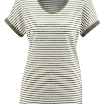 T-shirt Ava in 100% bio-linnen jersey, oregano/gebroken wit gestreept, Living Crafts, beschikbaar in de maat M, prijs: 39,99 €