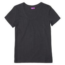 Basis T-shirt met V-hals in 100% bio-katoen fijne rib, zwart, Living Crafts, beschikbaar in de maten S, M, L en XL