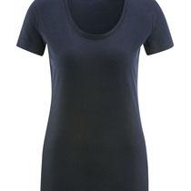 Basis T-shirt met ronde hals in 100% bio-katoen tricot, marineblauw, Living Crafts, beschikbaar in de maten S, M en L, prijs: 16,99 €