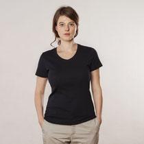 Basis T-shirt met V-hals in 100% bio-katoen tricot, zwart, Living Crafts