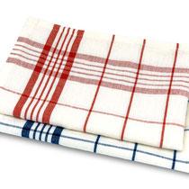 Keukenhanddoeken Helsinki in 50% bio-katoen + 50% linnen geweven, per 2 verpakt, blauw en rood, Living Crafts, 50 x 70 cm, prijs: 14,99 €