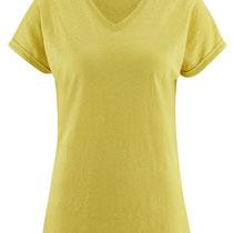 T-shirt Ava in 100% bio-linnen jersey, citroengeel, Living Crafts, beschikbaar in de maten XS, S, M, L en XL, prijs: 44,99 €