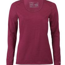 T-shirt met lange mouwen in 70% bio-merinowol, 28% zijde en 2% elastaan, donkerrood, Engel Sports