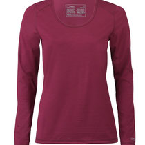 T-shirt met lange mouwen in 70% bio-merinowol, 28% zijde en 2% elastaan, donkerrood, Engel Sports, beschikbaar in de maten S, M, L en XL
