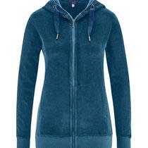 Vest met kap Hilda in 100% bio-katoen fluweel, petroleumblauw, Living Crafts, beschikbaar in de maten XS, S, M, L en XL, prijs: 59,99 €