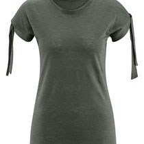 T-shirt Elisabeth in 100% bio-linnen jesery, khaki, Living Crafts, beschikbaar in de maten XS, S, M, L en XL, prijs: 39,99 €
