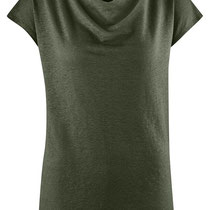 T-shirt Gilka in 100% bio-linnen jersey, donkergroen, Living Crafts, beschikbaar in de maten XS, S, M, L en XL, prijs: 44,99 €