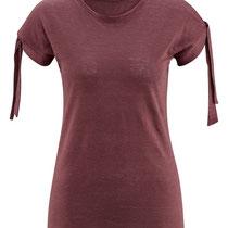 T-shirt Elisabeth in 100% bio-linnen jersey, donkerrood, Living Crafts, beschikbaar in de maten XS, M en L, prijs: 39,99 €