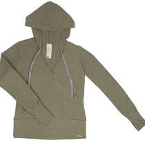 Damestrui met kap in 92% bio-katoen met 8% elastaan tricot, groen, Comazo Earth, beschikbaar in de maten 36; 38; 40; 42 en 44; prijs: 59,95 €